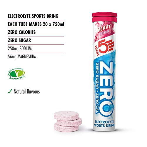 HIGH5 Zero Electrolyte Hydration Tablets Added Vitamin C (Berry, 20 Count (Pack of 8))