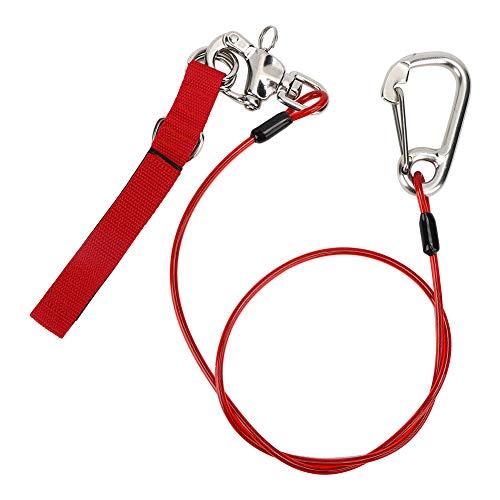 Xinwoer Cable Seguro para Buceo de Alta dureza, fácil de Transportar Cuerda de Seguridad para Buceo en apnea de Acero Inoxidable de Larga Vida útil, Pistas Ligeras para(Free Diving Safety Rope)