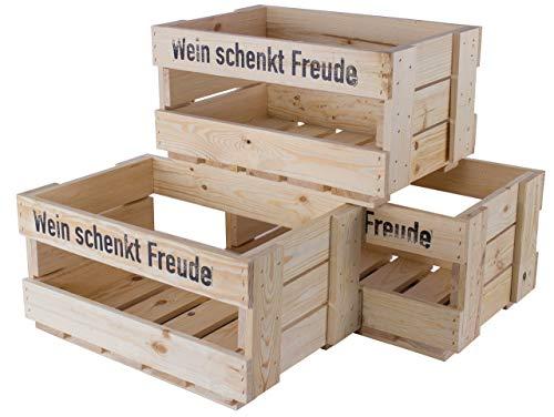 Kontorei 1-12 x Schöne Holzkiste Natur/Weinkiste, mit Aufdruck \'Wein schenkt Freude\', optimal zur Bepflanzung/Dekoration, neu, 46x30,5x24cm (2)