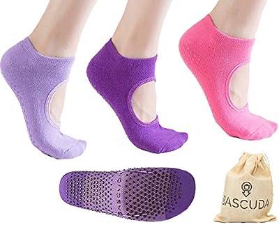 Bascuda Set of Pilates Socks for Women Non Slip Socks with Grips - Ideal for Yoga, Pilates, Ballet Barre, Dance, Fitness, Home Gym Workout Accessories - Yoga Socks for Women - Ladies Sports Socks