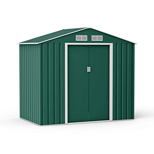 BillyOh Ranger Dark Green Apex Metal Shed With Foundation Kit (7 x 4)