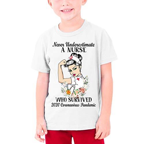 Never Underestimate A Nurse Who Survived 2020 Co.ro.na.v.i.r.u.s Pandemic Teenage T-Shirt White
