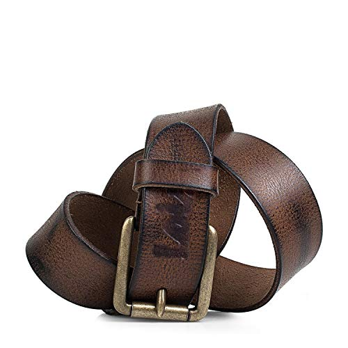 Lois - Cinturón de Cuero Piel Genuina Hombre. Hebilla metálica. Craquelado. Flexible y duradero. Ancho de 40 mm. Talla Ajustable 501004C, Color Marron