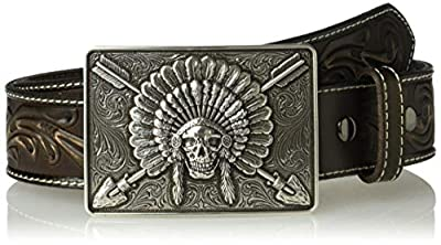 Ariat Unisex-Adult's Scroll Embosed Head Dress Buckle Belt, brown, 38