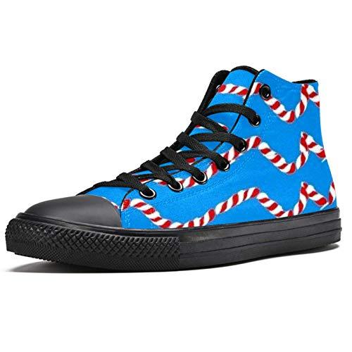 Anmarco cuerda color alta superior zapatillas de deporte para las mujeres adolescentes Gilrs moda encaje hasta zapatos de lona casual escuela caminar zapatos, color Multicolor, talla 39.5 EU