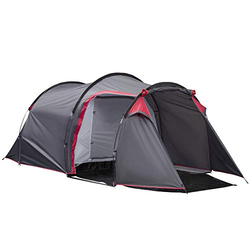 Outsunny Four Man Tunnel Tents w/ 2 Rooms Camping Tent Porch Air Vents Rainfly Weather-Resistant...