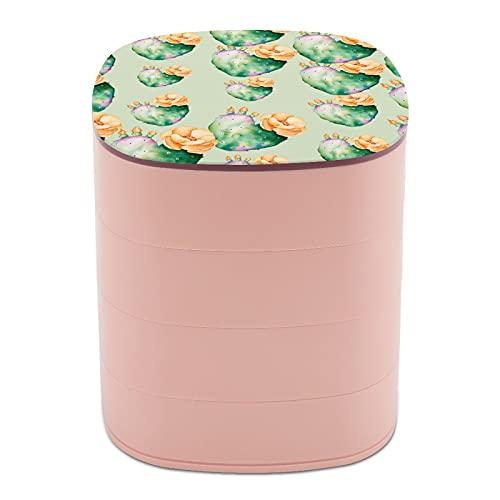 Rotate The Jewelry Box Print Yellow Cactus Flower Plant Multi-Layer Design Joyero organizador con espejo para mujeres y niñas