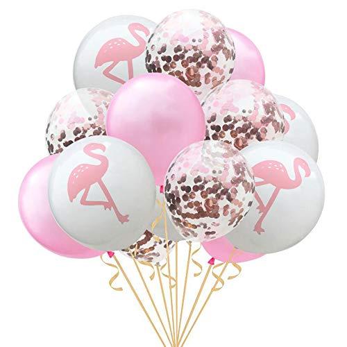 Oblique Unique® Konfetti Luftballon Set mit Flamingo für Hochzeit JGA Junggesellinnenabschied Hen Party Ballons Rosa Weiß Roségold