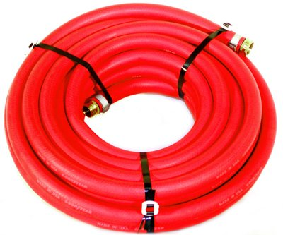 "Water Hose Continental ContiTech 1/2"" x 50' RED RUBBER Industrial 200psi with Brass Fittings - Heavy Duty - USA"