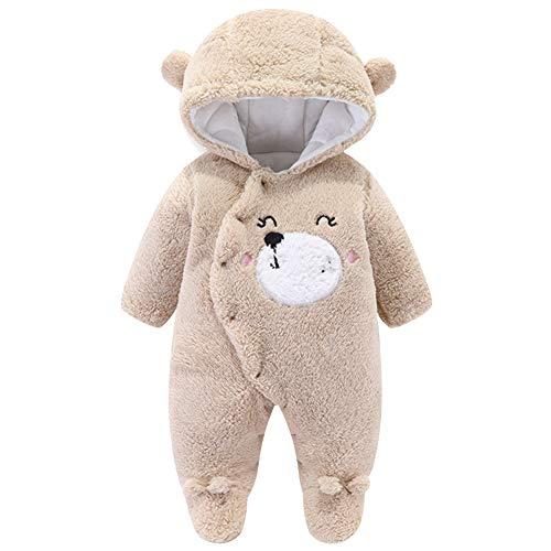 YFPICO Unisexo Mameluco para Bebé Mono Franela Invierno Pelele Infantil Niños Niña Osito Disfraz Pijama Trajes Caliente, Marrón, 9-12 Meses Etiqueta 80