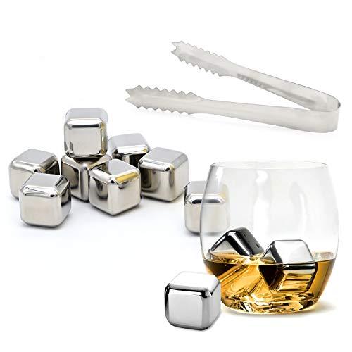 Whisky Eiswürfel Steine, 8 Wiederverwendbare Edelstahl Eiswürfel Steine Ice Cubes Kühlsteine mit Zange & Ablageschale - Schnell Kühltechnologie für Gin/Rum/Wein/Bier/Cocktail