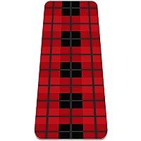 クリスマス赤黒格子縞 ヨガ マット 厚い ノン-スリップ フィットネス マット レディーズ と ガールズ用 ヨガ、ピラティス、フロア エクササイズ (183x61センチ、厚さ0.6センチ)