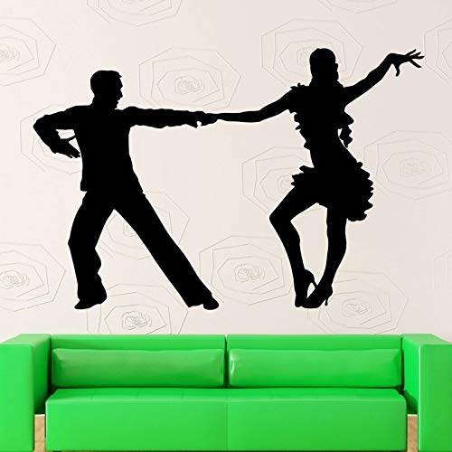 Tianpengyuanshuai Latin Tänzer Silhouette Wandaufkleber Mädchen und Männer tanzen Familie Wohnzimmer Vinyl Wandbild 57X80cm