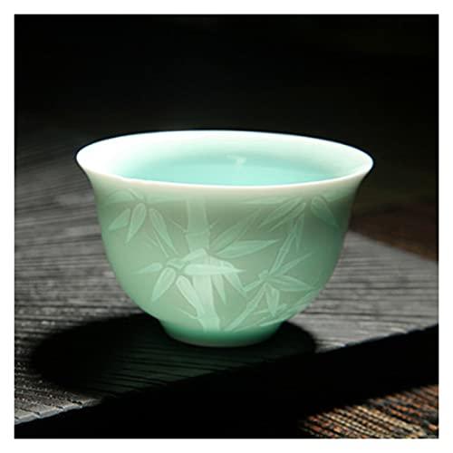 YUANLIN Tazas de Porcelana Porcelana Azul y Blanca Hecha a Mano con Sombra Azul Tallado Invisible Lotus patrón Taza Taza Master Taza Taza Taza cerámica Tazas de Porcelana Cafe (Color : Bamboo No 2)
