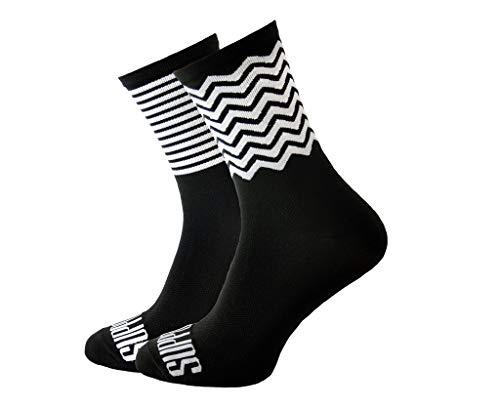 Soporte de calcetines de ciclismo para hombre, tecnología transpirable de fibra antideslizante, unisex, divertidos patrones de ciclista, color Rayas Zig Zag, tamaño 6-7 UK / 39-41 EU