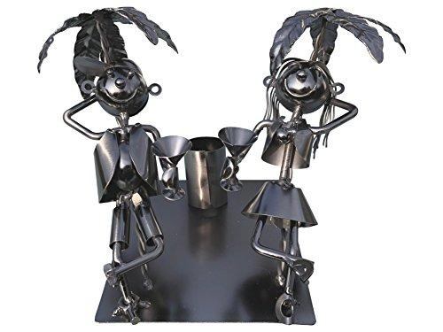 eXODA Weinflaschenhalter Metall Figuren Vanessa und Tobi in Kuba Design Paar Deko