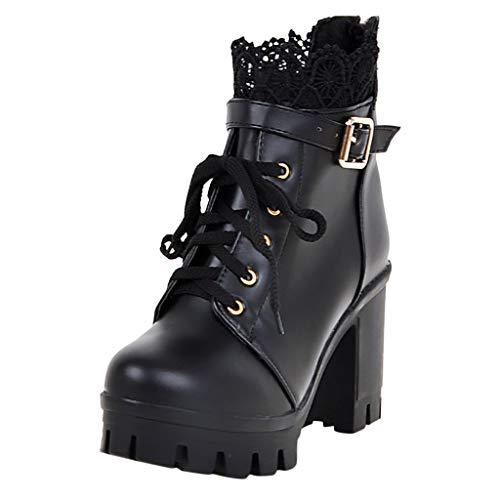 Affordable Women's Fashion Chunky High Heel Ankle Boots Comfort Lace Up Combat Platform Booties Pu D...