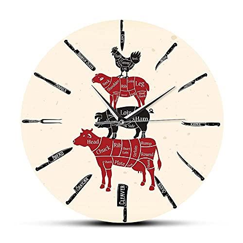 Dia 30cm Cuchillos de cocina Carnicería Reloj de pared para chef Cocinero Carne de res Cordero Cerdo Pollo Cortes de carne Diagramas para Meatman Reloj Reloj de pared Amigos Regalo Arte de la pared
