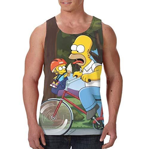 Yellowbiubiubiu The Simpsons Season Anime Gilet pour homme Été Imprimé 3D sans Manches T-shirt Gym Athlétique Sport Débardeur Décontracté L Noir