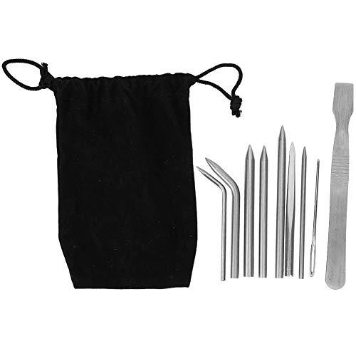Rehomy Juego de agujas de cuerda de paraguas, 9 piezas, acero inoxidable, para paraguas, cuerdas, pulseras, costura, accesorios de bricolaje