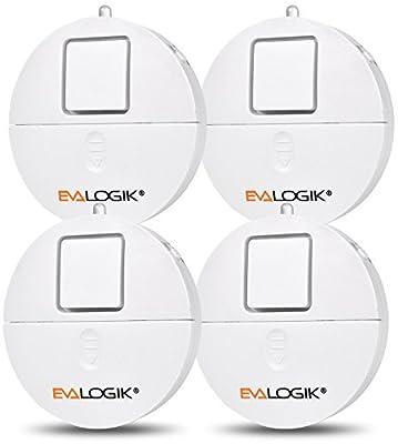 Window Alarm 4 Packs - Loud 120dB Alarm and Vibration Sensors Compatible with Virtually Any Window - Glass Break Security Alarm Sensor- Low Battery LED Indicator