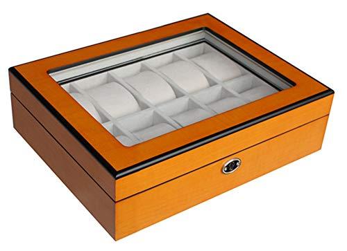 Moderne Uhrenbox Woolux für 10 Uhren Holz verschließbar mit Sichtfenster