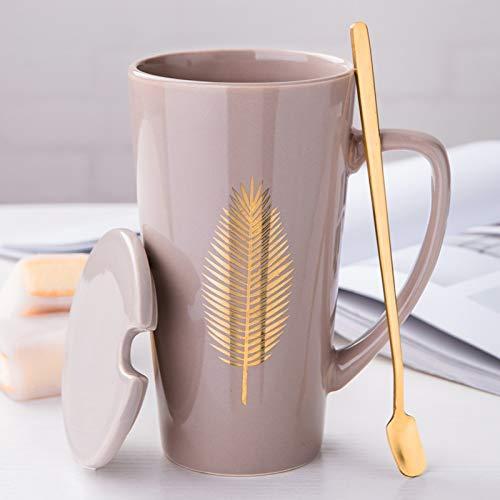 MUXUE Große Teetassen 500ml, Elegante Kaffeetasse mit Deckel und Löffel, Keramik Kaffee Tee Tasse für Freunden und Familien Als Überraschungsgeschenk(Grau)