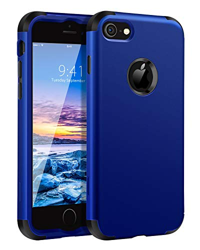 BENTOBEN Case for iPhone 8/iPhone 7, Heavy Duty Shockproof 3 in 1 Hard PC Soft Silicone Hybrid Coated Full-Body Protective Phone Cover Case for Apple iPhone 8/7 (4.7 Inch), Sapphire Blue