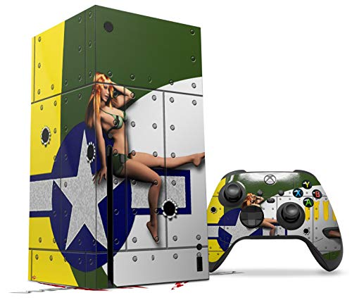 WraptorSkinz Skin Wrap compatible with the 2020 XBOX Series X Console and Controller WWII Bomber War Plane Pin Up Girl (XBOX NOT INCLUDED)
