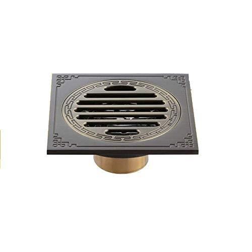 AXWT Drenaje del piso Cubierta del desagüe for el baño Cuarto de ducha Aseo Lavandería Jardín al aire libre, 10 CM Drenaje del piso Latón antiguo Desagüe de la basura Tapón de la tapa de la rejilla fo