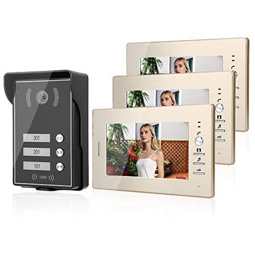 Dioche Timbres para Puertas, Videoportero Color de 7 Inch LCD con 3 Monitores Sistema, Visión Nocturna, Impermeable, Audio de 2 Vias para el Hogar, Oficina (US Plug)