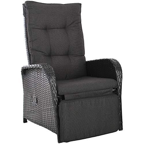 RABURG Gartenstuhl Julia - Polyrattan Relax Sessel, Easy-Lift - stufenlos verstellbar, wetterbeständig in edlem seidenmatt SCHWARZ inklusive Kissen in Schiefer-meliert