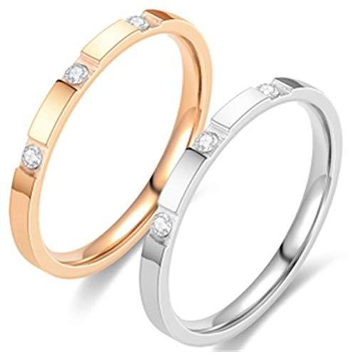 ダイヤ3点 銀ピンク2点セット 幅2mm サージカル ステンレス 指輪 リング 金属アレルギー対応 メンズ リング レディース リング 婚約指輪 結婚指輪 (ダイヤ3点 銀ピンク2点セット, 9)