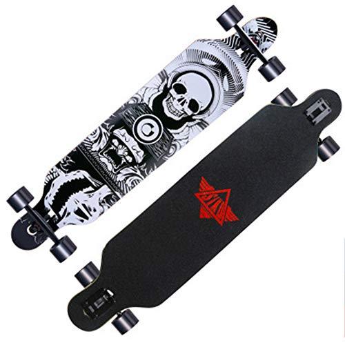 SMAA Longboard Skateboard 42-Zoll-Tropfen-Through Deck komplett Maple Cruiser Freestyle, Camber Concave für Schnitzen Downhill Cruising Freestyle Riding