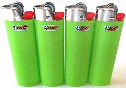 Bic Lime Green Classic Full Size Lighters New Lot of 4