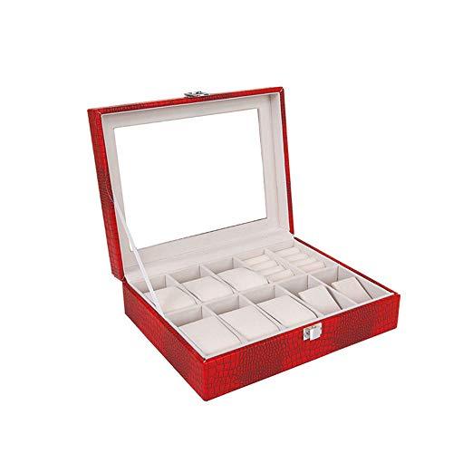 SXFYHXY Scatola per Orologi Modello in Coccodrillo Moda PU in Pelle 10 Scatola di immagazzinaggio di Gioielli per Orologi Scatola per Uomo e Donna Universale,Red,26.5x20.5x8cm