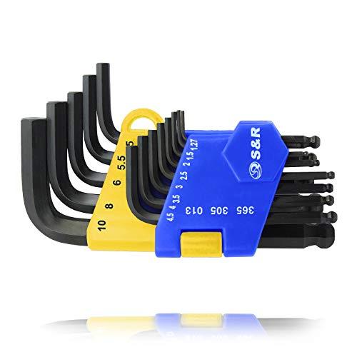 S&R Innensechskantschlüssel Satz HX mit Kugelkopf, 13-tlg, 1,27 bis 10 mm, gehärtet, kurz, in Kunststoffclip