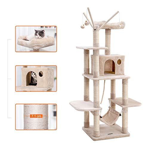 FEANDREAキャットタワー猫タワー直径7.1cm支柱12本頑丈耐久段差あり天然サイザル麻匂いなしNPCT86M