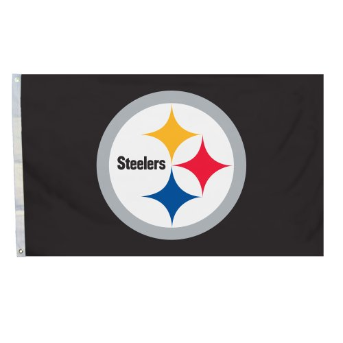 Fremont Die NFL Pittsburgh Steelers 3' x 5' Flag with Grommets, 3 x 5-Foot, Logo