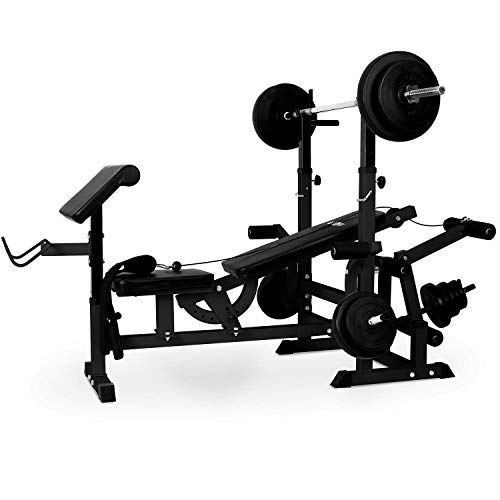 KLAR FIT Klarfit Workout Hero 3000 - Banco de musculación multifunción, Entrenamiento con Cargas guiadas, Banco de Pesas, Press de banca, Remo, Curler piernas, Carga máxima 280 kg, Acero, Antracita