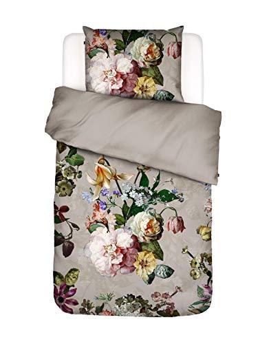 ESSENZA Bettwäsche Fleur Blumen Pfingstrosen Tulpen Baumwollsatin Sand, 135x200 + 1x 80x80 cm