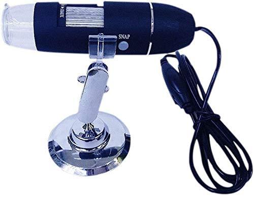 JJDSN Microscopio Digital USB, 1600X 8 LED Cámara de endoscopio de Aumento de Mano de Bolsillo portátil con Soporte, Compatible con Windows PC, Mac PC y Tablet