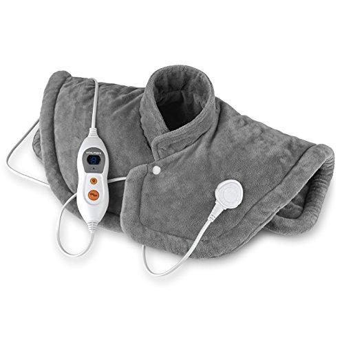 VITALmaxx Wärmekissen Nacken, Schulter, Rücken, Elektrisches Nackenheizkissen, Rückenheizkissen & Schulterwärmer [grau]