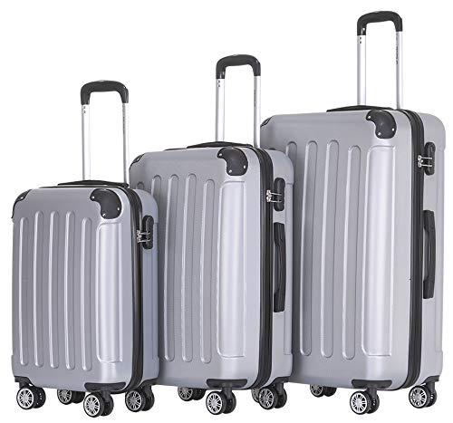 BEIBYE 2045 Zwillingsrollen 3tlg. Reisekoffer Koffer Kofferset Trolleys Hartschale in 14 Farben (Silber)