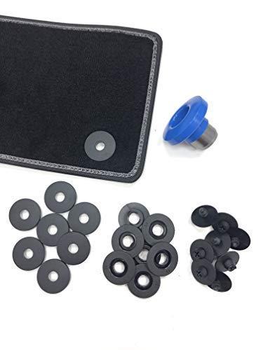 ASC - Botones de anclaje universales - Juego de 8 unidades con troquel e instrucciones incluidas (idioma español no garantizad) - Botones para alfombras de coche