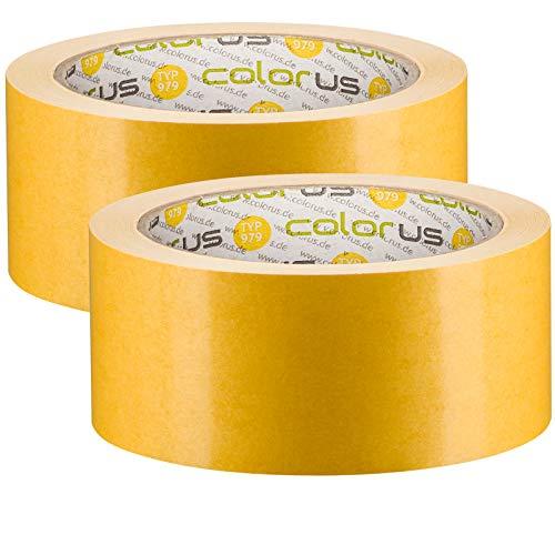 2 x Profi Doppelseitiges Klebeband   Teppichklebeband doppelseitig 50 mm x 25 m   Teppich-Verlegeband Doppelklebeband   Hohe Klebekraft, stark klebend   Teppichband für glatte Untergründe