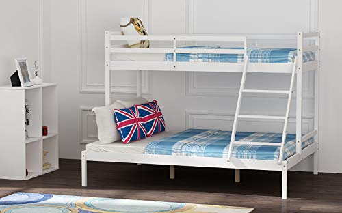 PALDIN Bunk Bed Wooden, Single Top Double base bed Pine Frame Children's Bed room Furniture Triple Sleeper Bed Frame Bed Sets - No Mattress Included
