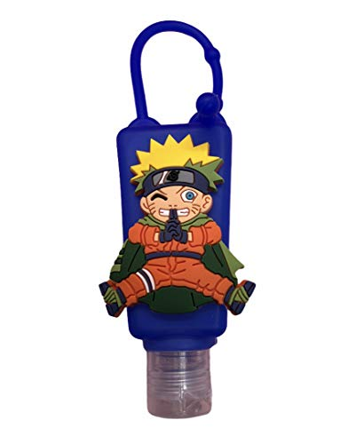 Golden Days Cute Cartoon Empty Hand Sanitizer Holders Include 1 fl Oz. Refillable Empty Portable Containers with Adjustable Strap (Naruto)