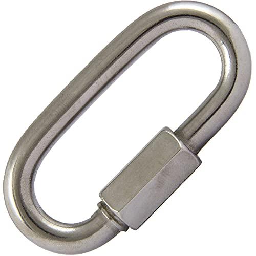 AG-BOX Cadena de cierre rápido de 4 mm de diámetro (1 unidad) de acero inoxidable A4 V4A con rosca para eslabones, mosquetón de rosca, unión de cadena.