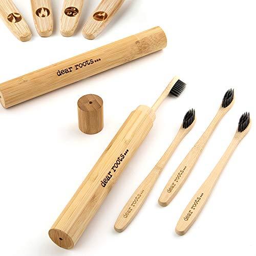 dear roots - Nachhaltige Bambus Zahnbürsten mit 2x Etui - 4er Set Holzzahnbürste - 100% Vegan und BPA Frei - Mittelweiche Zahnbürste aus Holz mit Aktivkohle für weissere Zähne, Reisezahnbürste